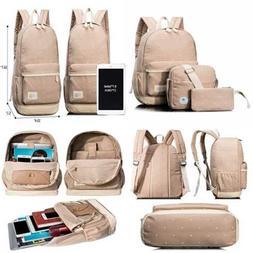 Leaper Girl's Canvas Cute Dots School Backpack+Cross Body Ba