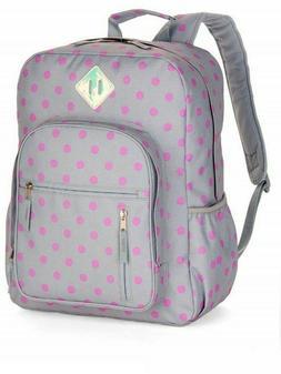 No Boundaries Girls Big School Backpack Pink Polka Dots Lapt