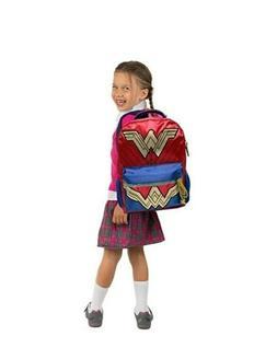 "Wonder Woman Glitter 16"" Kids Backpack Girls Book bag Tiara"