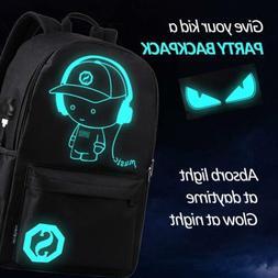 Glow at Night Anime Backpack Luminous Laptop Shoulder Bag wi