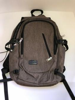 gray brown laptop bag daypack backpack book