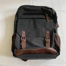 Kenox Gray Canvas Backpack School Laptop Bag Hiking Travel