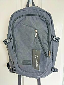grey water resistant laptop backpack with usb