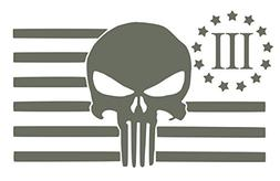 UR Impressions Gry American Flag 3 Percenter Punisher Decal