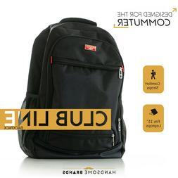"""Handsome Man Brands Club Line Backpack - Black, Fits 15"""" Lap"""