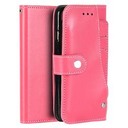 For iPhone 6 / 6S - Hot Pink Card ID Slot Wallet Diary Folio