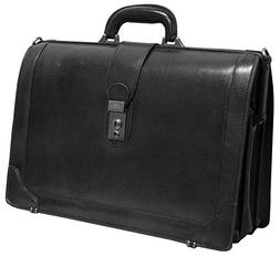 "Mancini Italian Leather 17"" Laptop Lawyer's Briefcase - Blac"