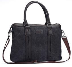 J-Bonest? 15.6 Inch Casual Canvas PU Leather Material Briefc