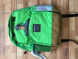"Jinx Minecraft 17"" Kids Green Sword Backpack Book Bag Laptop"