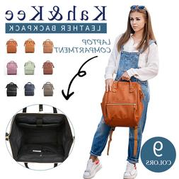 Kah&Kee Leather Backpack Diaper Bag with Laptop Compartment
