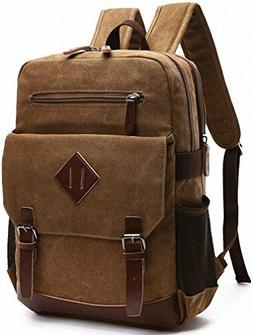 Kenox Mens Large Vintage Canvas Backpack School Laptop Bag H
