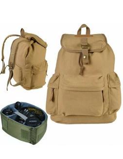 Khaki Camera Case Backpack Shoulder Carry Travel Bag for DSL