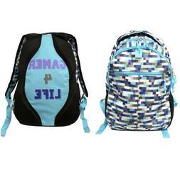 Kids Backpack 17in Blue Grey Multi Pocket Boys Laptop Storag
