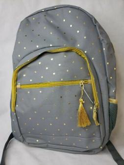 Kids Padded Backpack Bookbag Gray Gold Polka Dot Air Mesh La