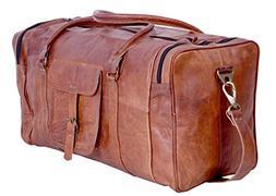 KPL 21 Inch Vintage Leather Duffel Travel Gym Sports Overnig