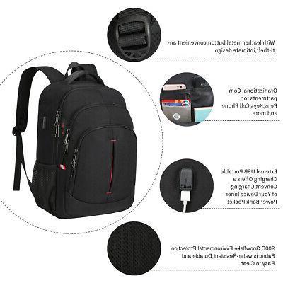 15.6/17.3 Anti Theft Waterproof Travel School Bag Black