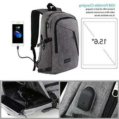 "Mancro 15.6""-17"" Backpack with USB Charging Port"