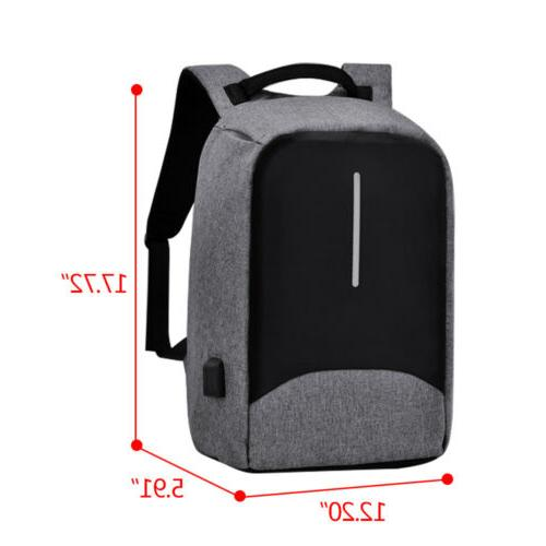 """15"""" Anti-Theft Men's Backpack Charge Travel School"""
