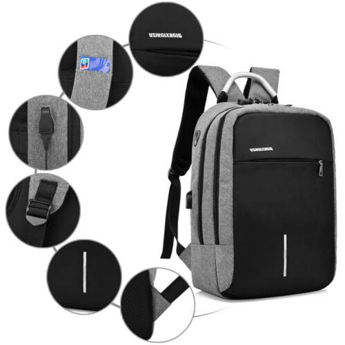men anti theft usb charging laptop backpack