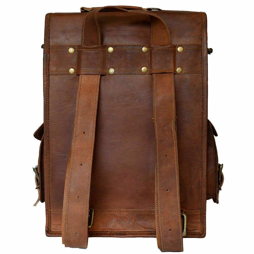 """15"""" Mens Leather Backpack Bag Sling"""