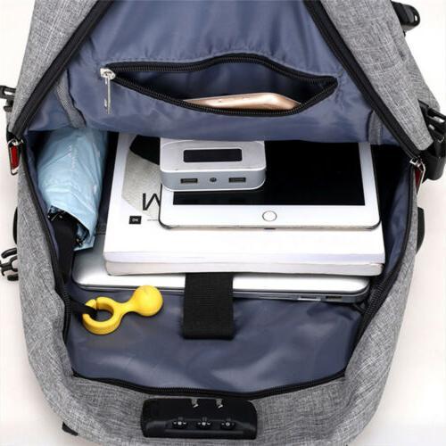 Mens Anti-Theft Shoulder Bag Travel Laptop Backpack Book Bag