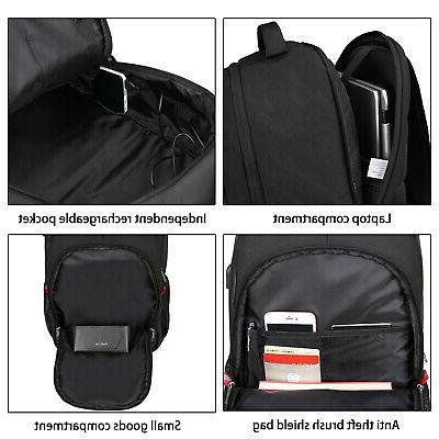 "17"" Laptop Large Theft Waterproof USB Travel Bag"