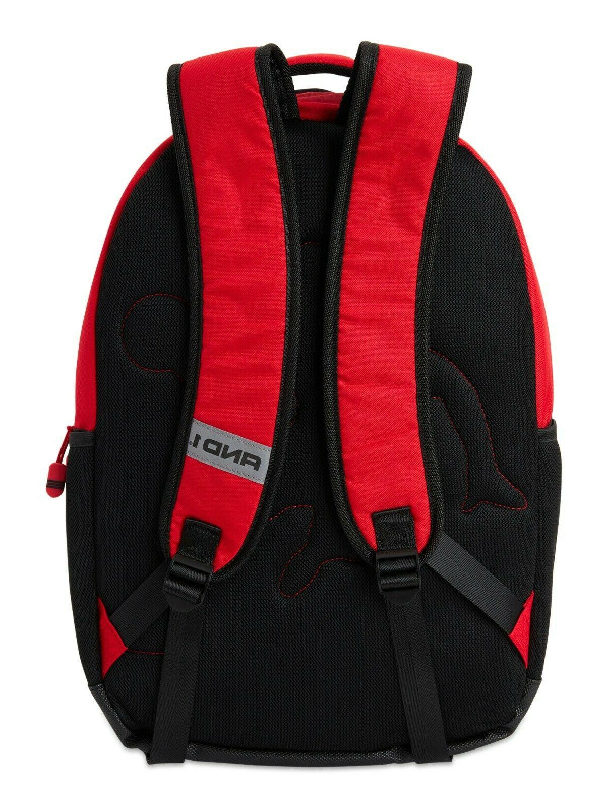 """18"""" And1 """"In the Paint"""" Black Red Backpack/Book Red Laptop"""
