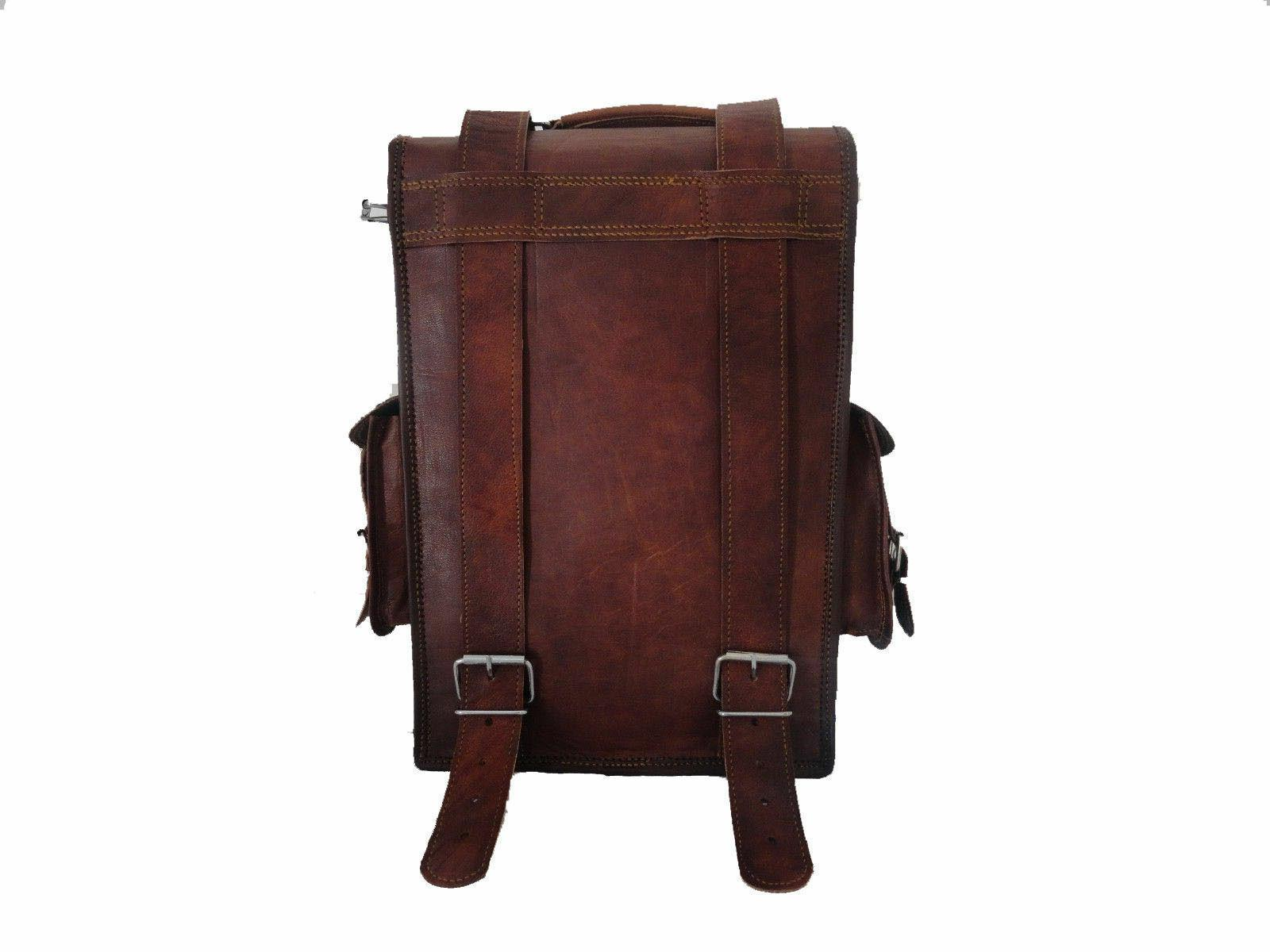 "15"" Leather Laptop Backpack Bag Rucksack Sling"