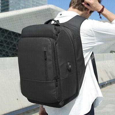 1x Men Nylon Laptop Backpack Water Repellent with Travel