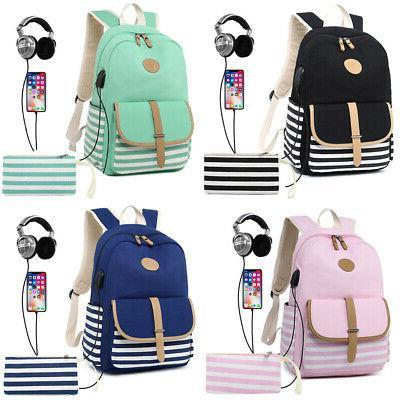 2pcs womens girls school backpack shoulder bags