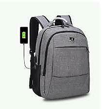 3 Colors Men's Travel Shoulder Backpack & Laptop Bag USB Cha