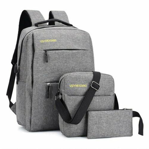 3PCS/Set Bookbag Travel School Bag With Port