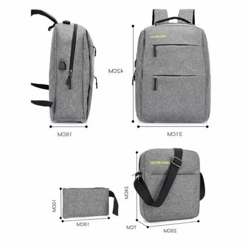 3PCS/Set Unisex Laptop Bookbag Travel School With USB Port