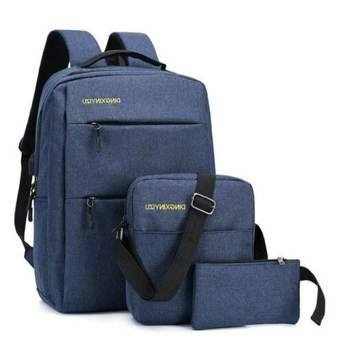 3PCS/Set Unisex Laptop Bookbag Travel With Port