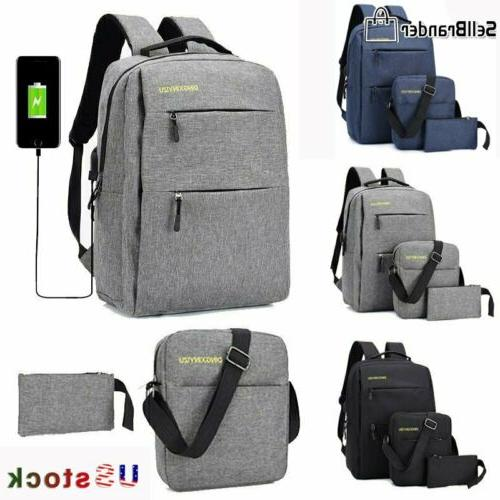 3pcs set unisex aptop backpack bookbag travel