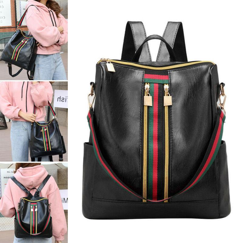 Fashion Women Girls PU Leather Backpack Travel School Backpa