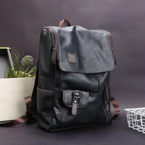 Men's Leather Laptop Backpack Shoulder Bag Weekender Travel