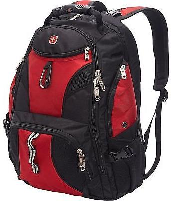 SWISS GEAR ScanSmart Backpack Hiking RED BLACK 17 In Laptop