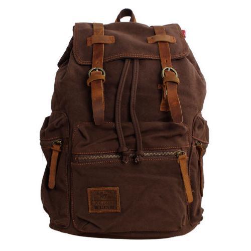 Vintage Canvas DSLR Camera Case Bag Travel Backpack For Cano