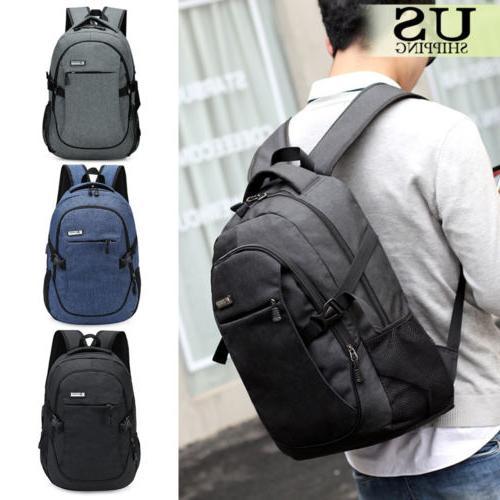 Anti-Theft Backpack USB Port Laptop School Bag