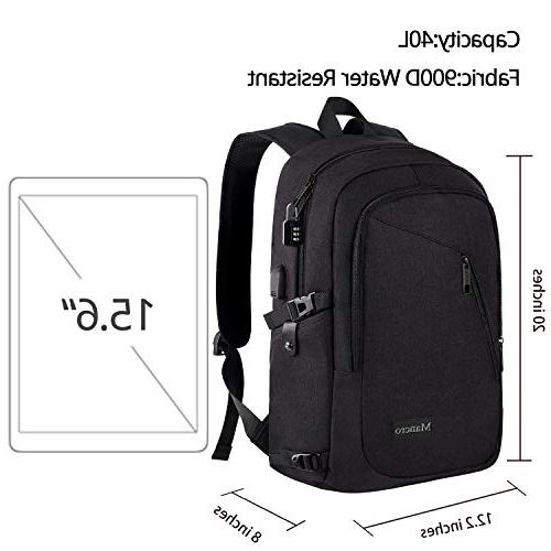 Anti Theft Backpack Port Laptop, Bookbag for MacBook Women Men by Mancro