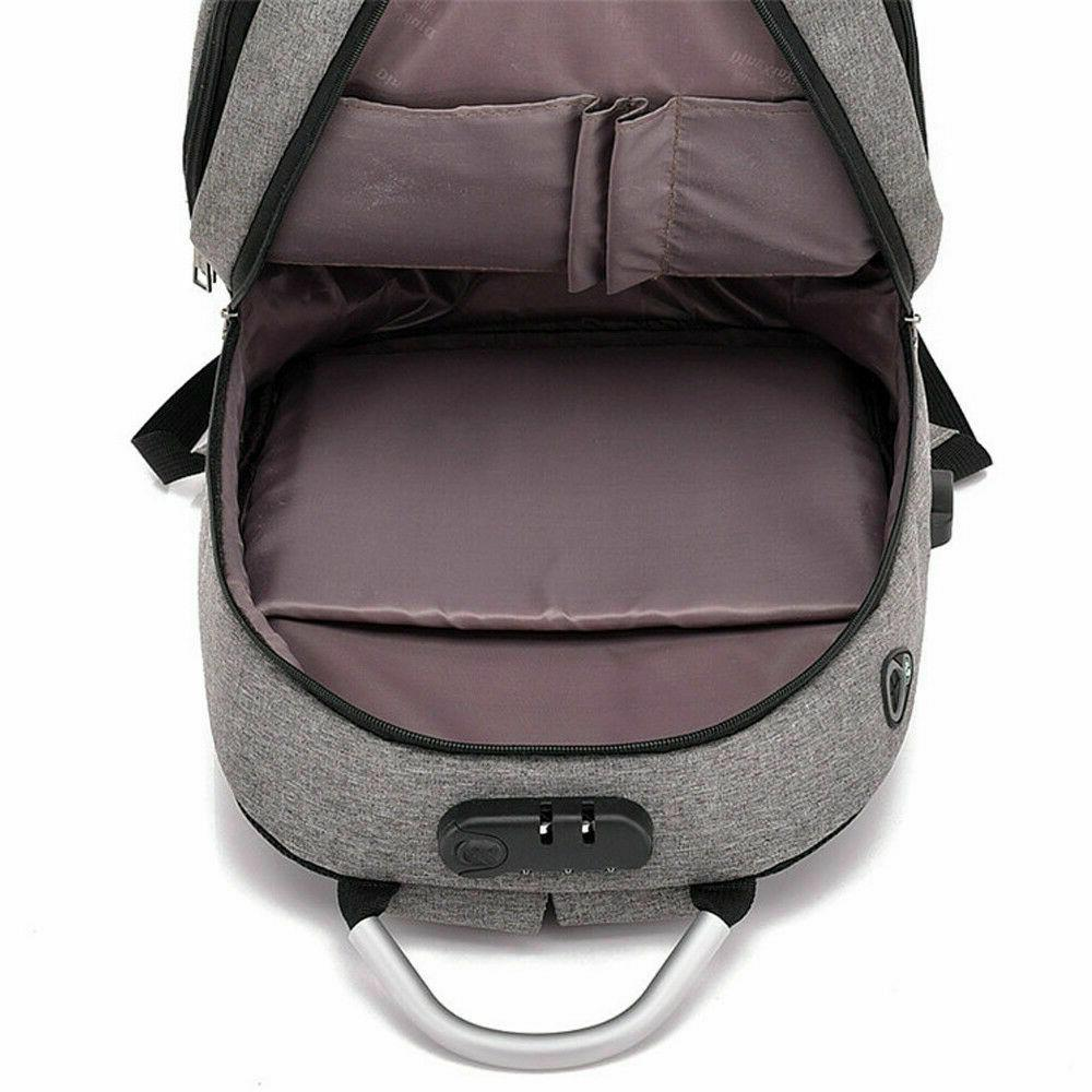 Anti-theft Laptop Backpack Charge Port Travel Computer Men