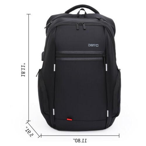 Anti-theft Men Notebook Laptop Backpack Business School Bag w/ USB Port
