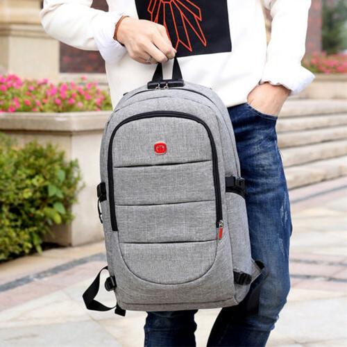 Mens Anti-Theft Bag USB Travel Laptop Backpack Book Bag