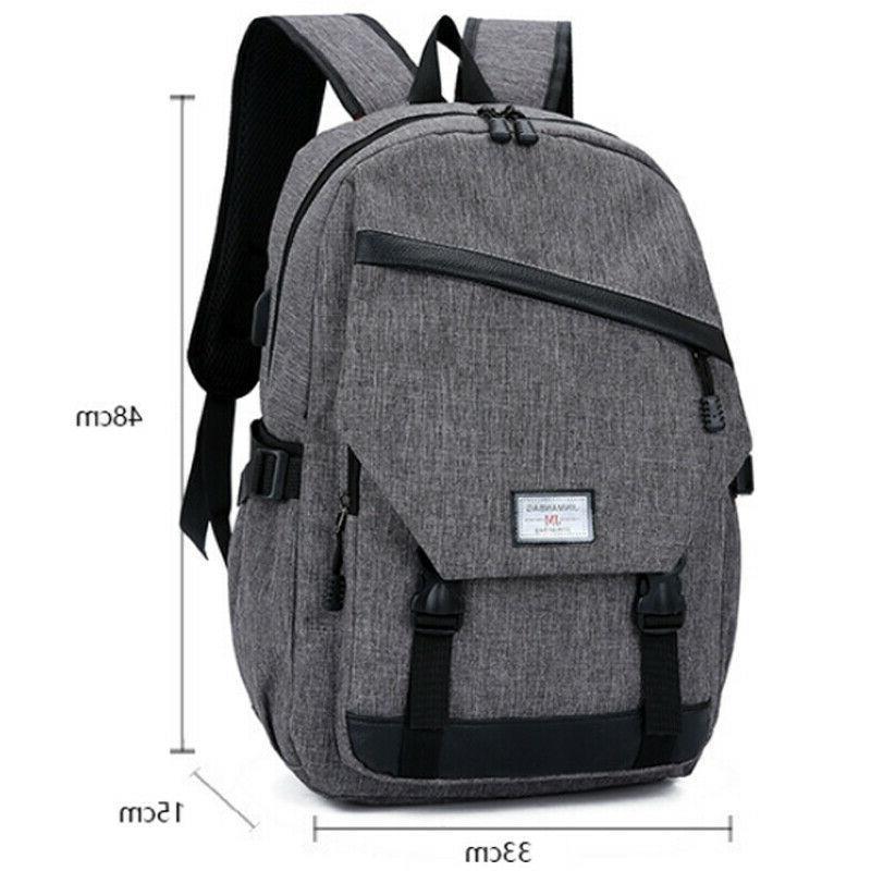 Anti-theft USB Charging Backpack Laptop School Shoulder Bag