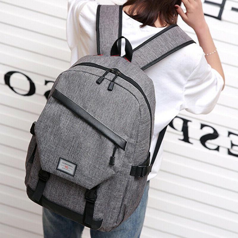 Anti-theft Mens USB Backpack Laptop School Shoulder Bag
