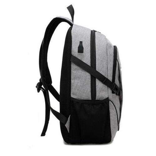 Anti-Theft Mens USB Charging Shoulder Backpack Laptop Travel