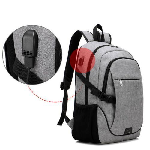 Anti-Theft Mens USB Shoulder Laptop Travel School Bag