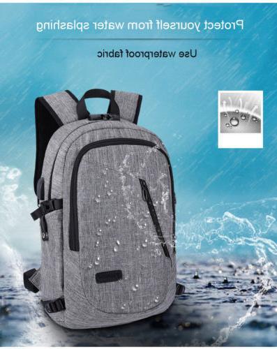 BLUE Anti-theft Mens USB w/ Laptop Travel Bag Y