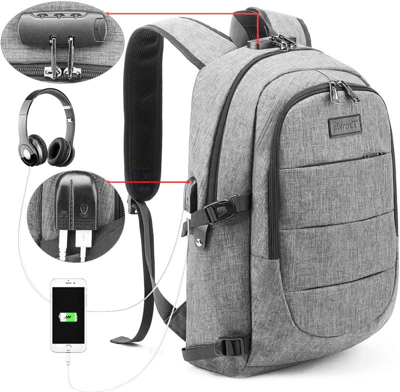 Travel Laptop Backpack Water Resistant Anti-Theft Bag w/ USB